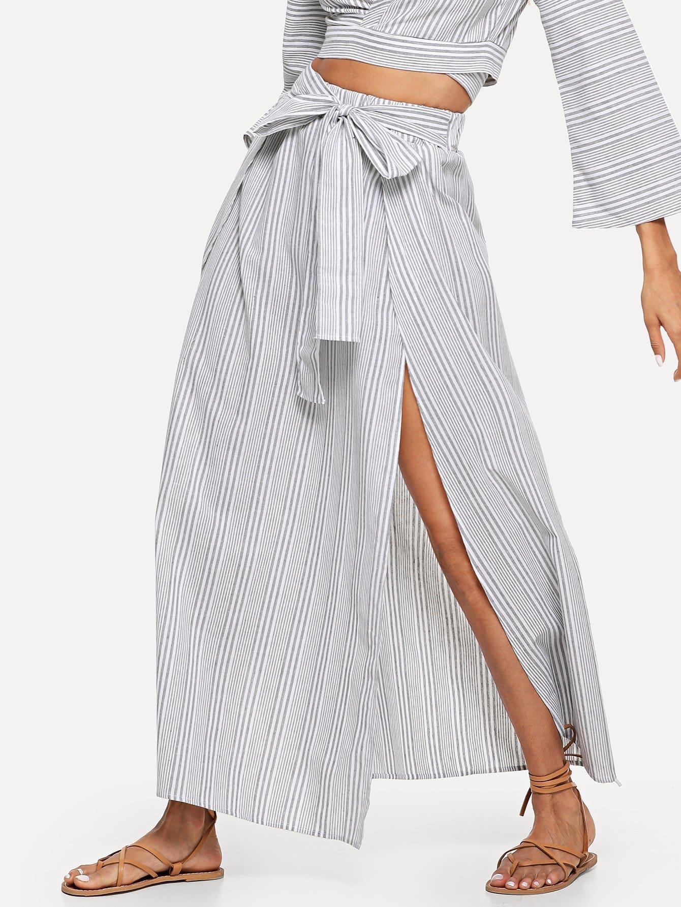 Купить Узкая передняя сплит-полосатая юбка, Andy, SheIn
