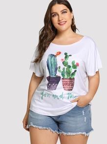 Plus Cactus Print Tee
