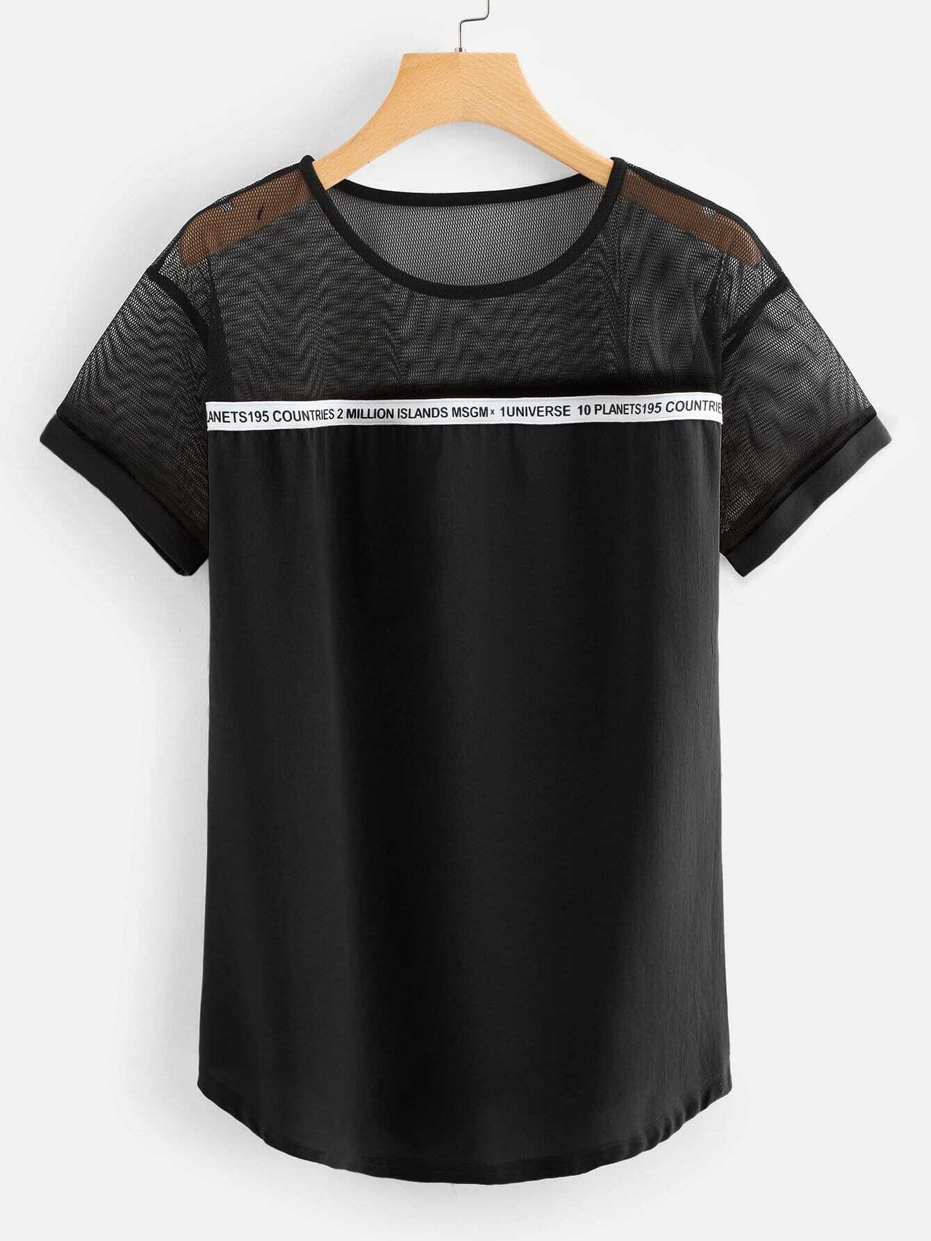 Купить Сетчатая блузка с рисунками лозунгов, null, SheIn