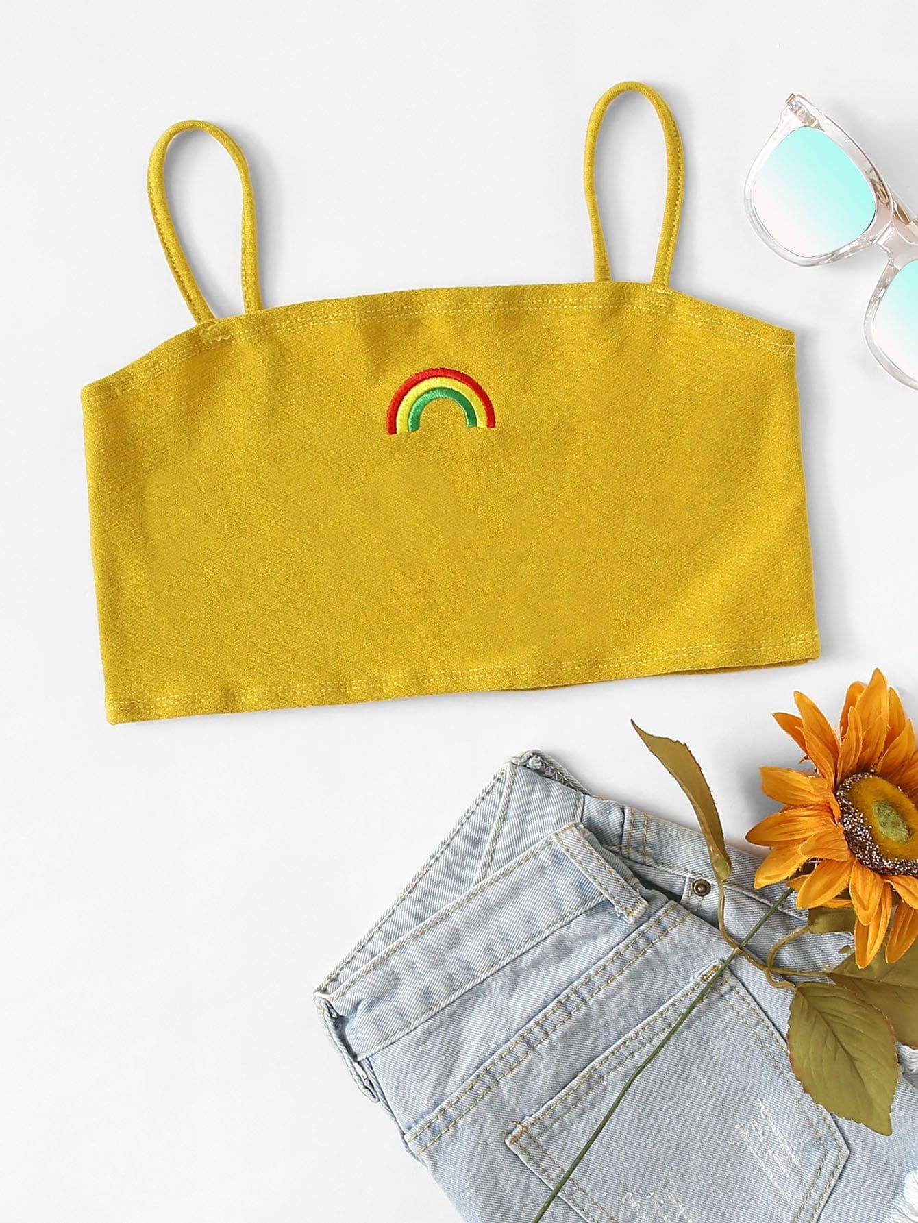Купить Женский жилет с рисунком радуги вишивки, null, SheIn