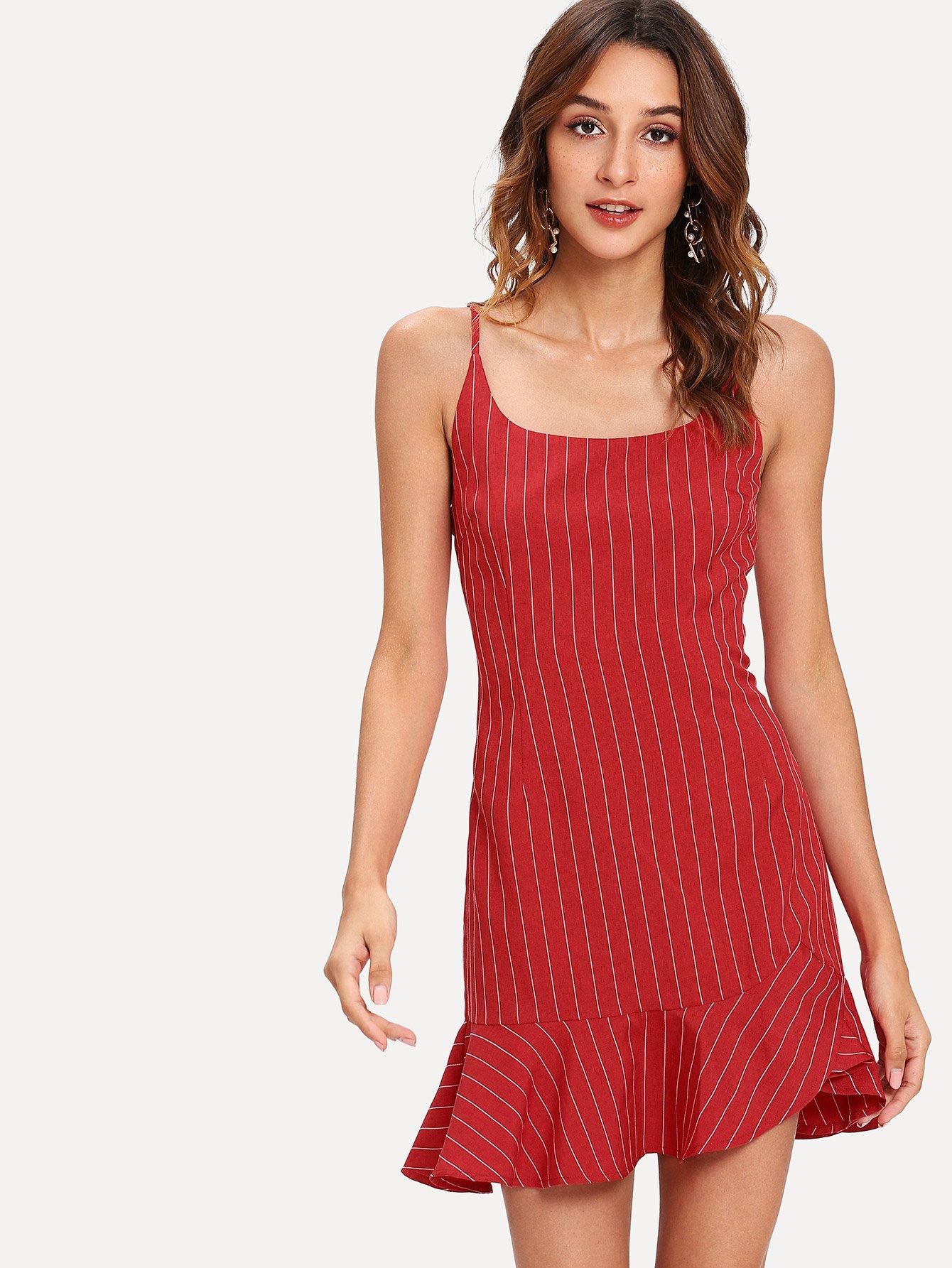 Ruffle Hem Striped Cami Dress ruffle strap and hem striped dress