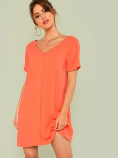 Neon Orange Double V-Neckline Shirt Dress