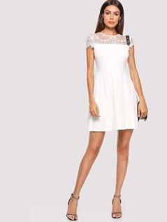 Lace Yoke Fit & Flare Dress