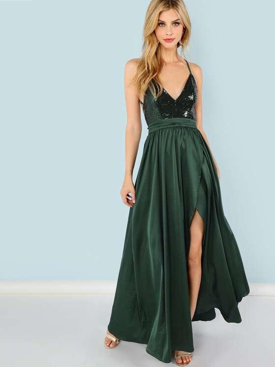 c91b699a02 Sequin Panel Split Maxi Cami Dress | MakeMeChic.COM
