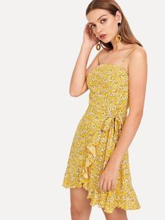 Off Shoulder Knot Flower Print Dress