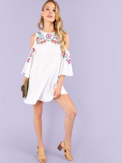 Cold Shoulder Flower Print Dress