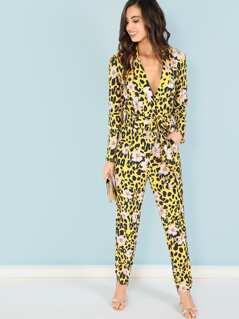 Leopard Print Floral Jumpsuit