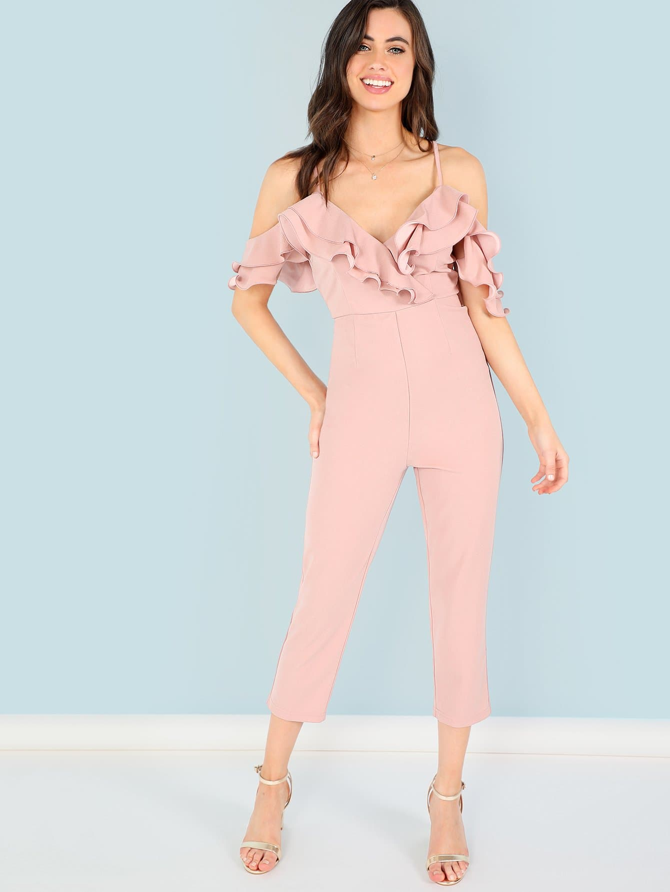 Open Shoulder Tiered Ruffle Tailored Jumpsuit plaid tailored jumpsuit