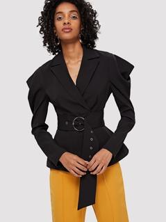 Notch Collar Single Button Blazer