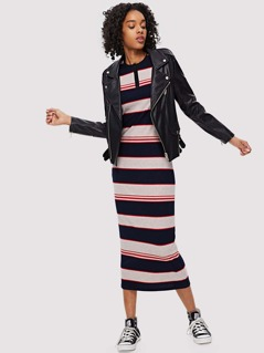 Button Front Colorblock Striped Rib Knit Dress