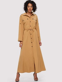 Rolled Tab Sleeve Drawstring Waist Asymmetrical Dress