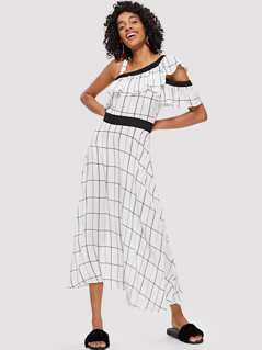 Asymmetrical Neck Flounce Trim Grid Dress