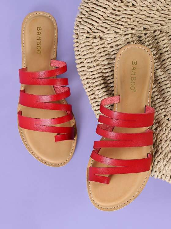 134698310 Strappy Slide Sandal with Toe Ring