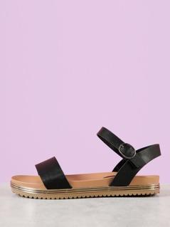 Single Band Ankle Strap Flatform Sandal