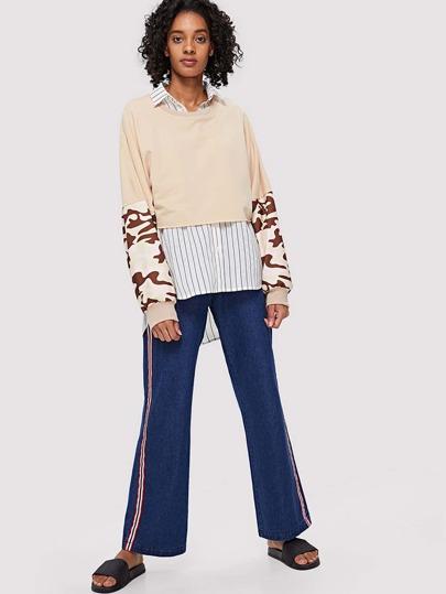 SheIn / Camo Print Crop Sweatshirt