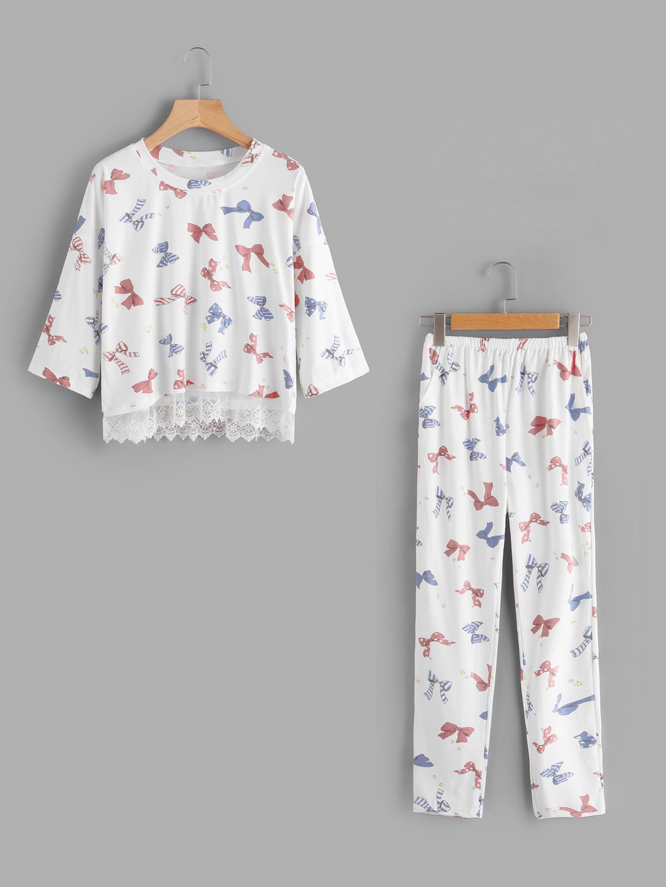 Купить Модная пижама с принтом и кружевной вставкой, null, SheIn