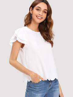 Layered Ruffle Sleeve Scallop Hem Top
