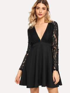 Contrast Lace Deep V Neck Dress