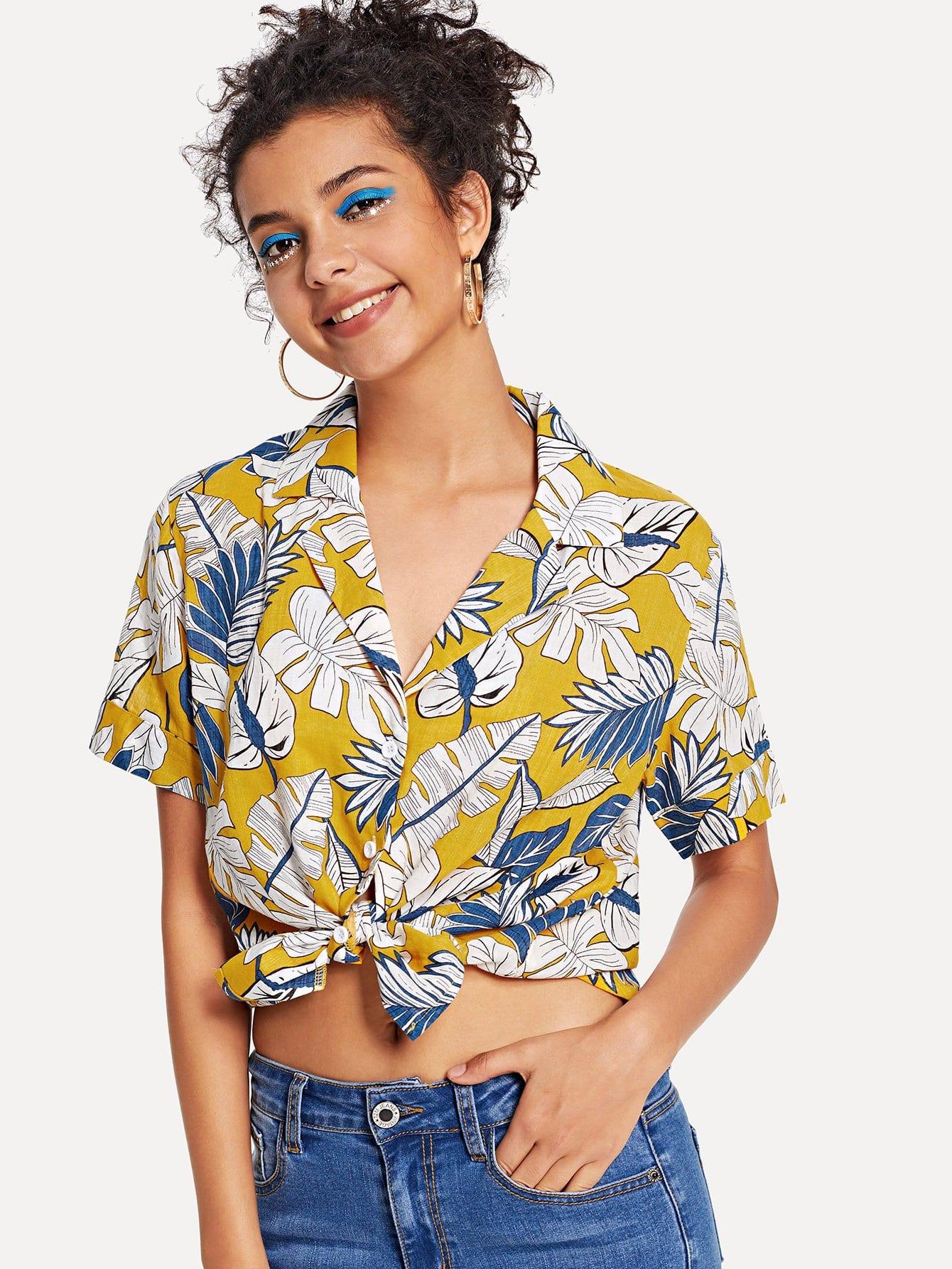 Рубашка из джунглей Notch Neck, Starl Lane, SheIn  - купить со скидкой