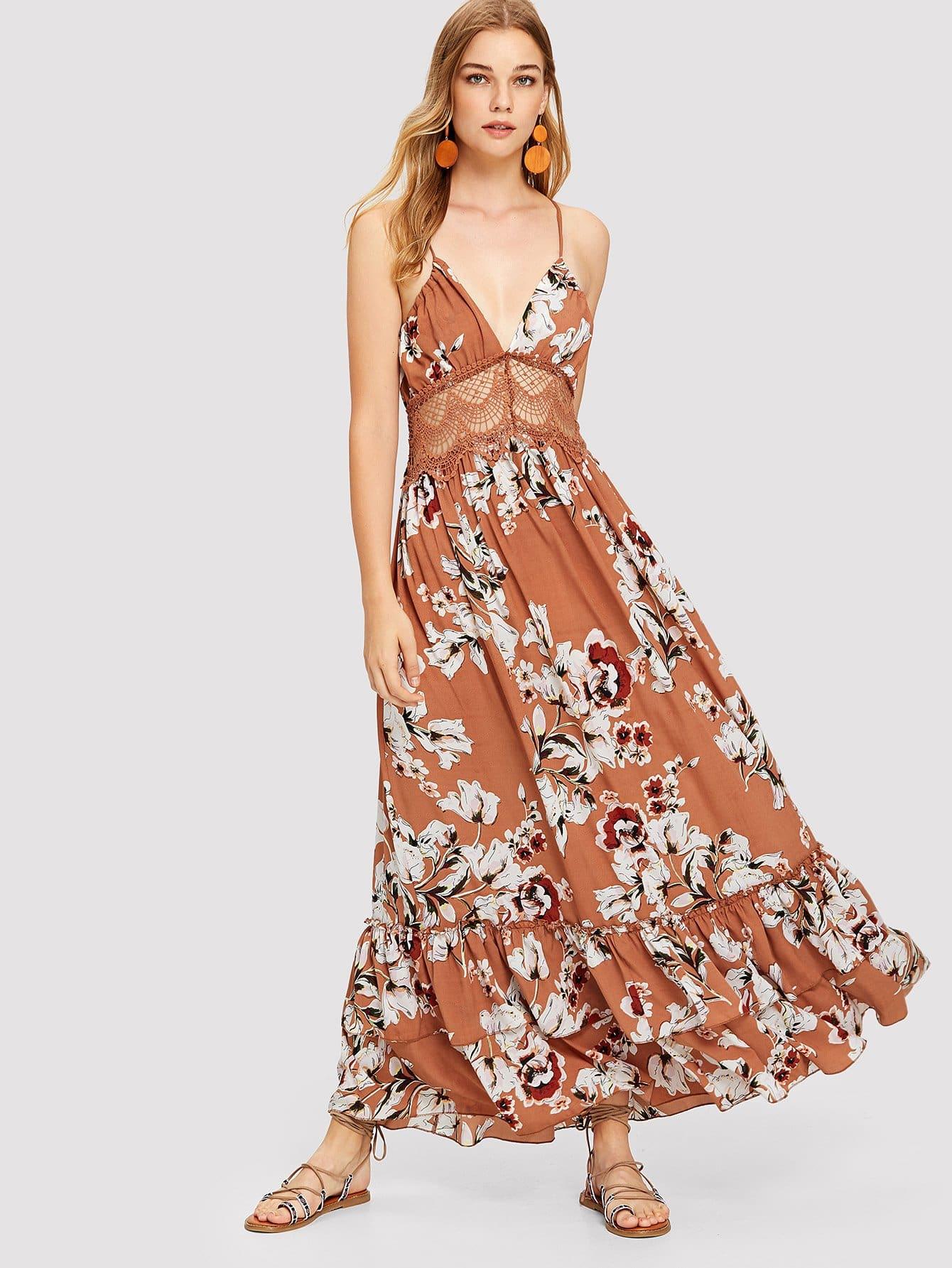 Купить Платье с открытой спиной в цветочек, Teresa, SheIn