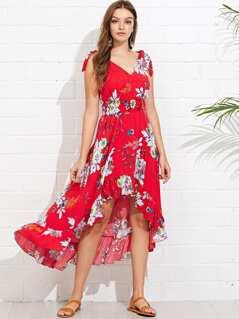 V-Back Ruffle High Low Floral Dress