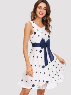 Bow Detail Polka Dot Shell Dress