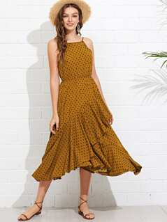 Flounce Wrap Hem Polka Dot Cami Dress