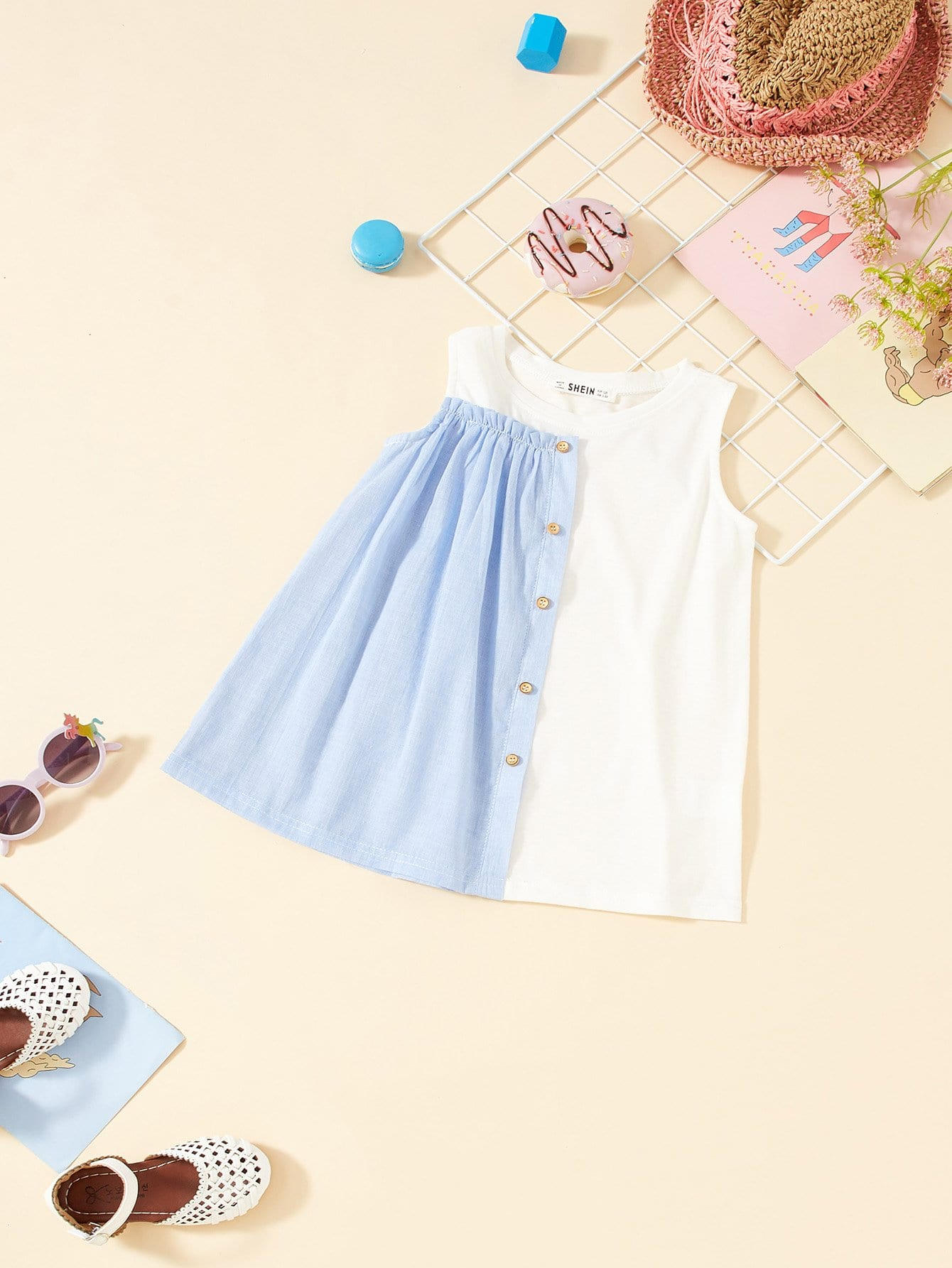 Girls Cut And Sew Mixed Media Dress girls cut and sew top
