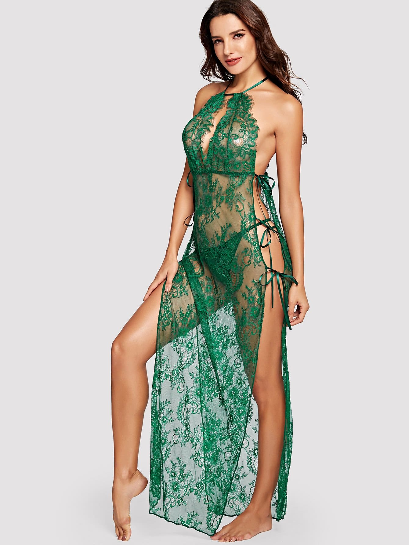 High Split Floral Lace Dress With Thong
