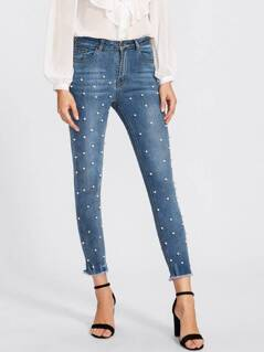 Pearl Beaded Frayed Hem Jeans
