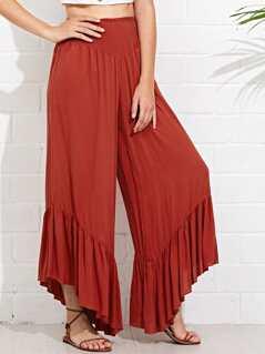 Shirred Waist Ruffle Wide Leg Pants