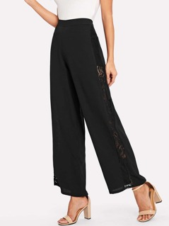 Sheer Lace Insert Side Palazzo Pants