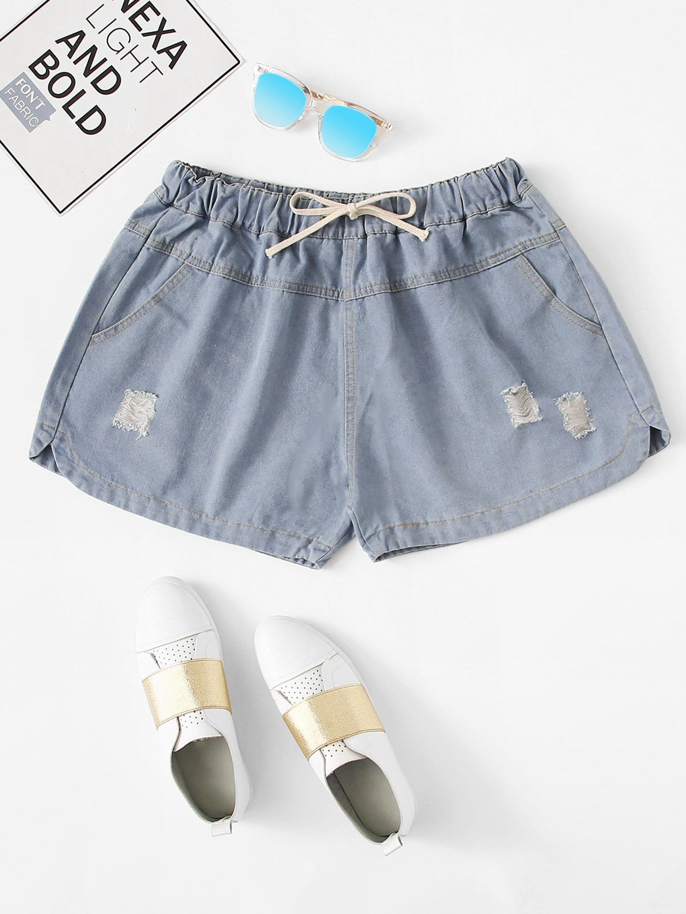 Plus Drawstring Waist Ripped Denim Shorts