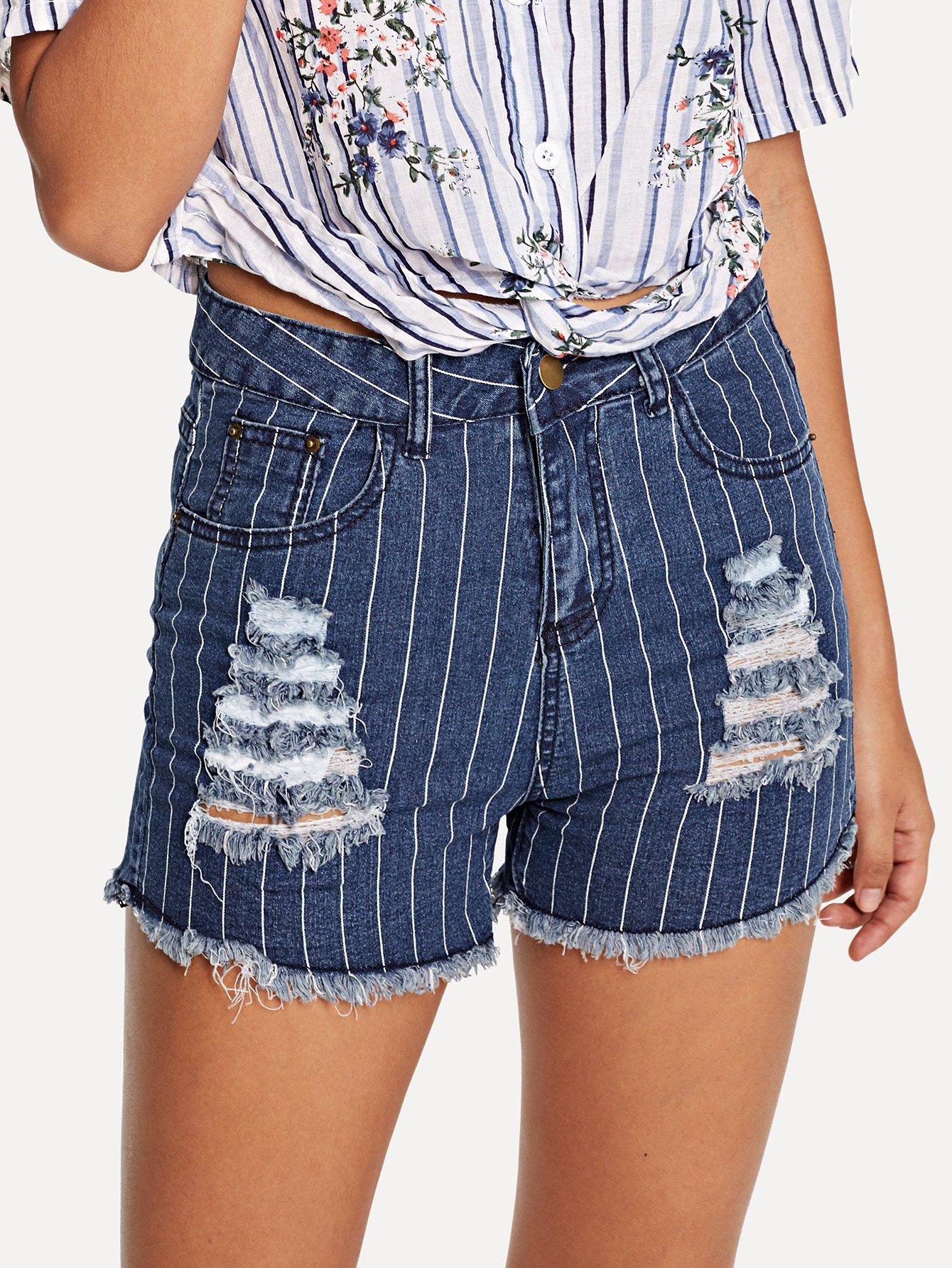 Striped Ripped Frayed Hem Denim Shorts