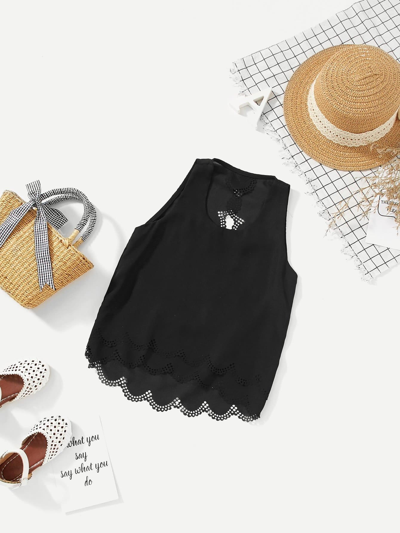 Фото - Girls Tiered Laser Cut Hem Shell Top laser cut pep hem top