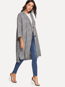 Plaid Pocket Longline Coat