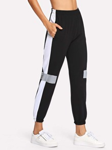 Colorblock Elastic Waist Pants
