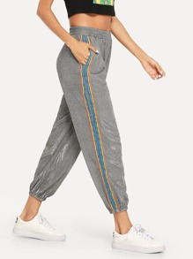 Striped Side Elastic Waist Pants