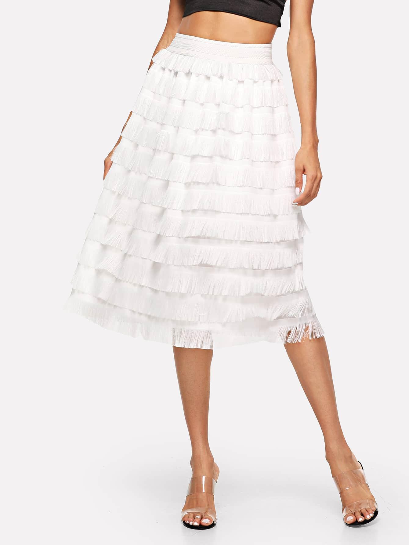 Купить Накрахмаленная одноцветныая юбка с кистью, Andy, SheIn