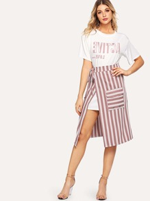 Letter Print Tee With Striped Split Side Skirt