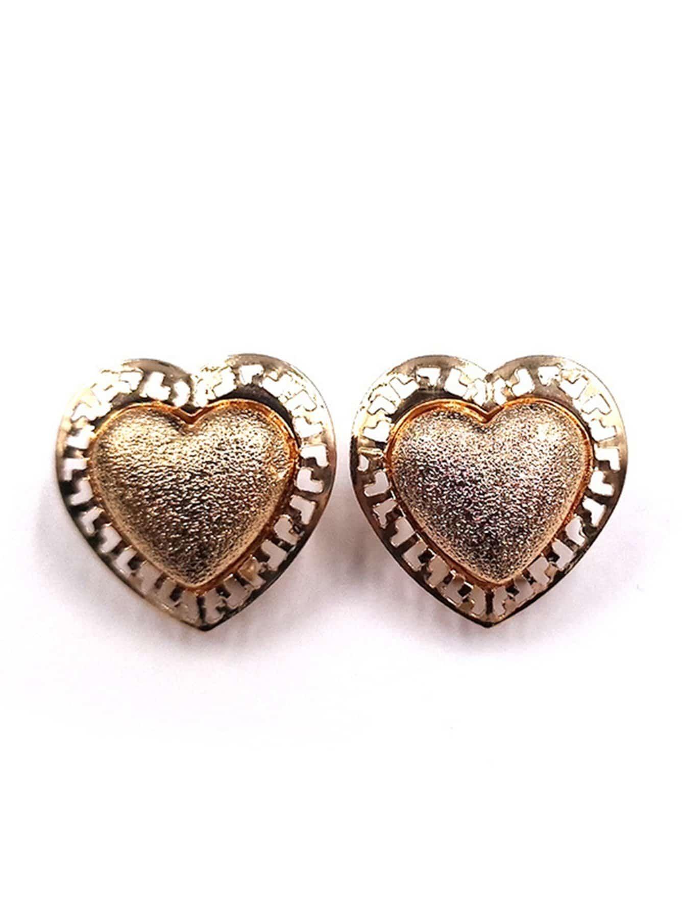 Metal Heart Shaped Stud Earrings