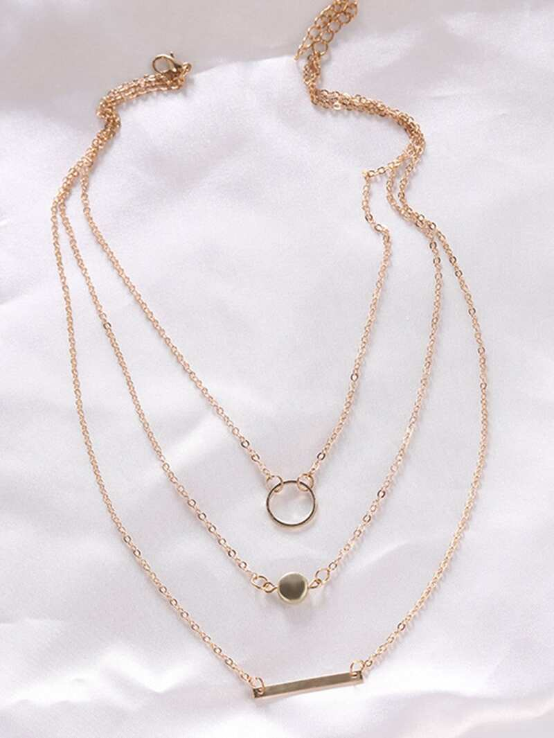 Bar & Circle Pendant Layered Chain Necklace, Gold