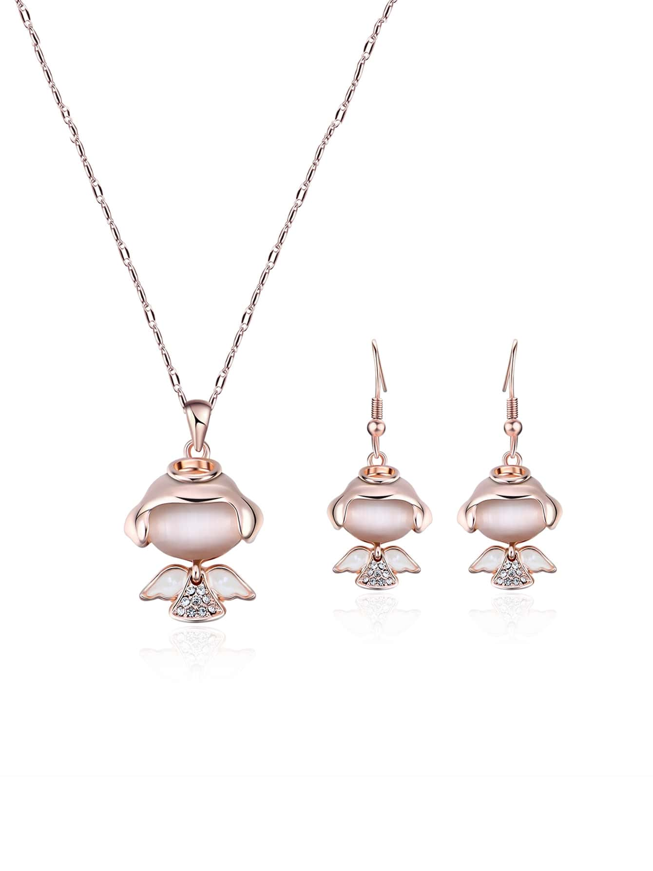 Engel Anhänger Halskette & Ohrringe Set