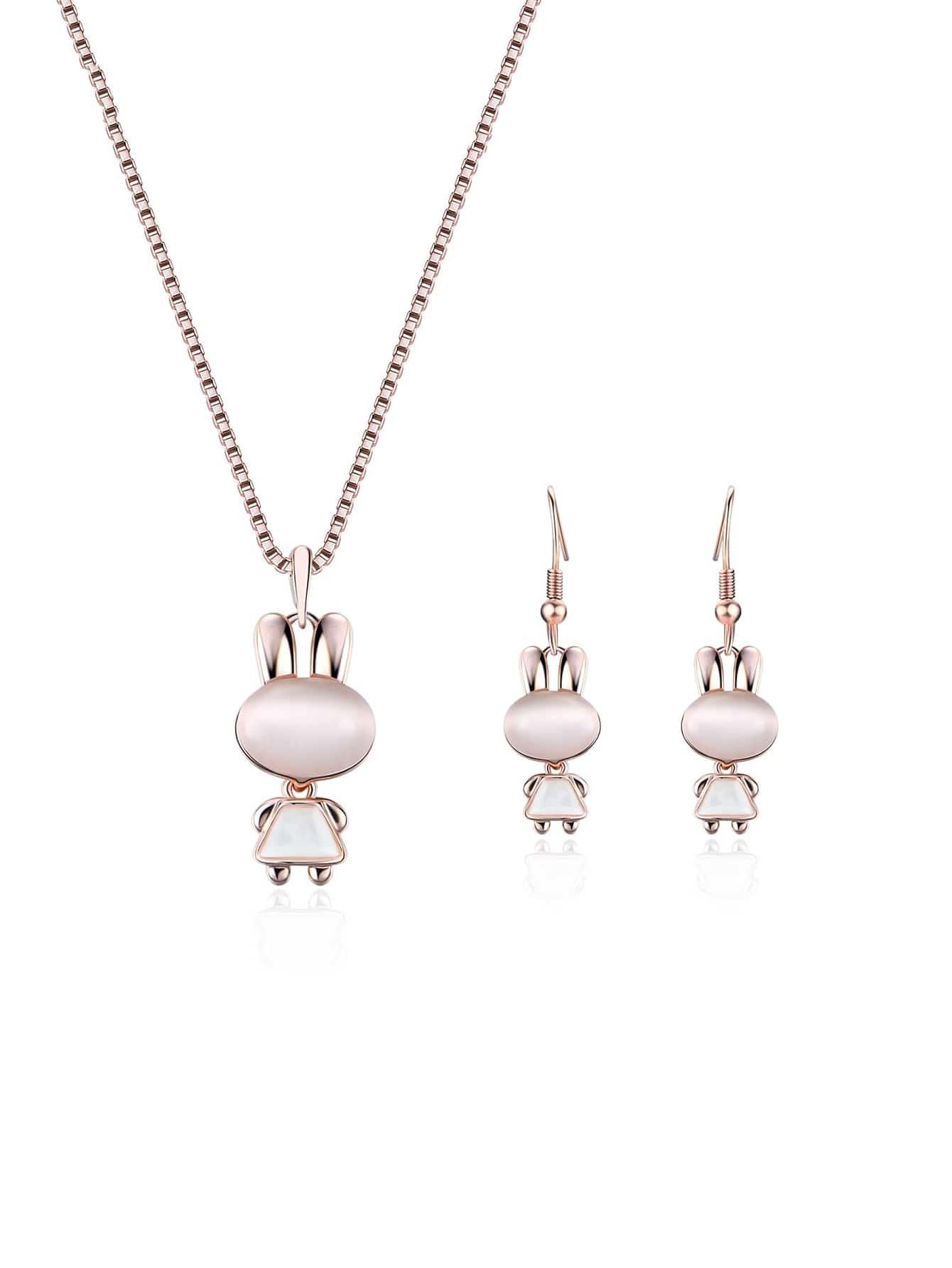 Kaninchen Anhänger Halskette & Ohrringe Set
