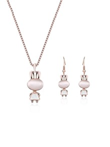 Rabbit Pendant Necklace & Earrings Set