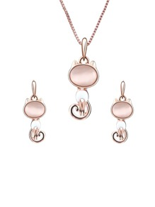 Cat Pendant Necklace & Earrings Set