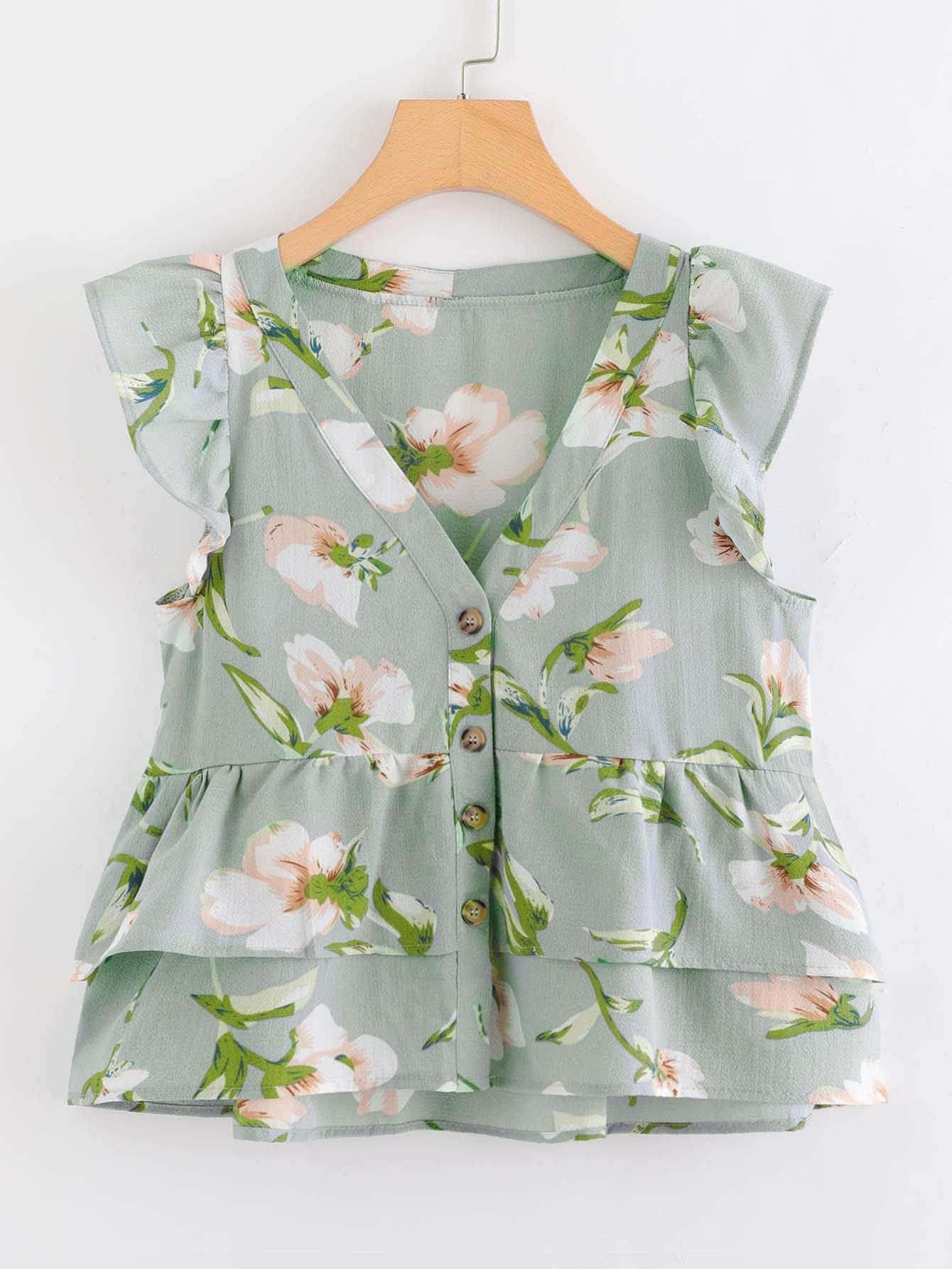 Ruffle Trim Floral Print Blouse ruffle trim floral print blouse