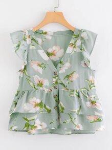 Ruffle Trim Floral Print Blouse