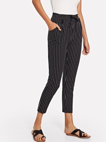 Vertical-Striped Tapered Leg Pants