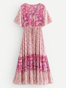 Calico Print Frill Trim Dress